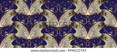 elegant floral dark blue vector
