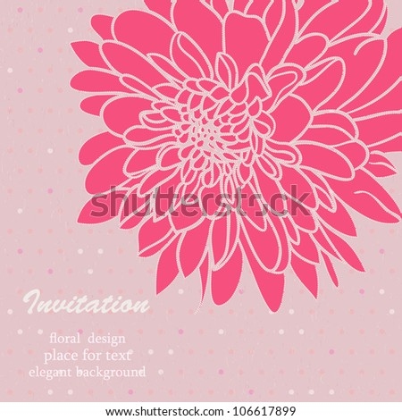 Elegant Floral hand-drawn Card. Seamless light pink background