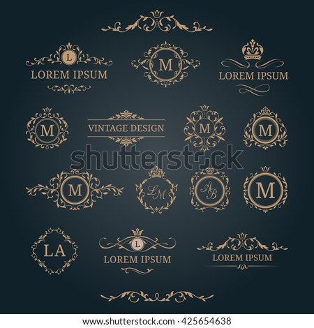 Elegant floral monograms and borders. Design templates for invitations, menus, labels. Wedding monograms. Monogram identity for restaurant, hotel, heraldic, jewelry.
