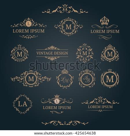 Elegant floral monograms and borders. Design templates for invitations, menus, labels. Wedding monograms. Monogram identity for restaurant, hotel, heraldic, jewelry. Stock fotó ©