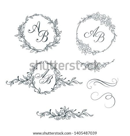 Elegant floral monograms and decorative elements. Design templates for invitations, labels. Wedding monograms. Calligraphic elegant ornament.