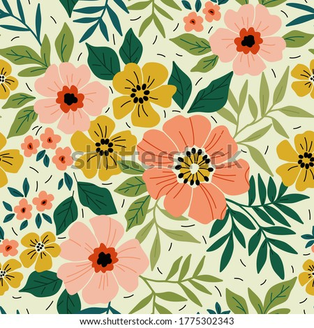 Elegant floral pattern in small colorful flower. Liberty style. Floral seamless background for fashion prints. Ditsy print. Seamless vector texture. Spring bouquet.