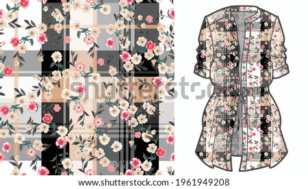 Elegant floral pattern in small colorful flowers. Liberty style. Floral seamless background for fashion prints. Ditsy print. Seamless vector texture. Spring bouquet.Checkered diagonal plaid pattern.