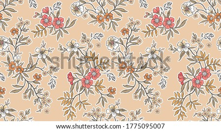 Elegant floral pattern in small  flowers. Liberty style. Floral seamless background for fashion prints. Ditsy print. Seamless vector texture. Spring bouquet.