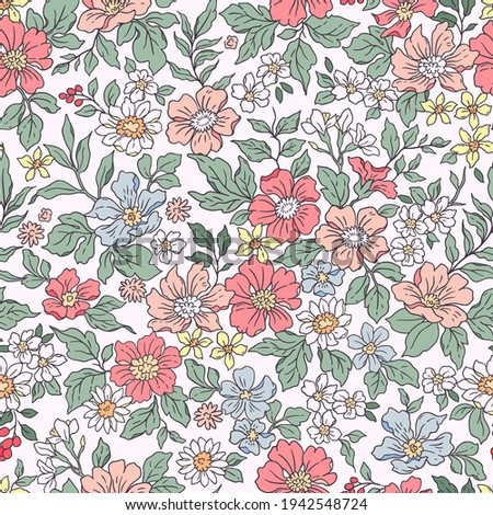 Elegant floral pattern in small hand draw flowers. Liberty style. Floral seamless background for fashion prints. Vintage print. Seamless vector texture. Spring flowers bouquet.