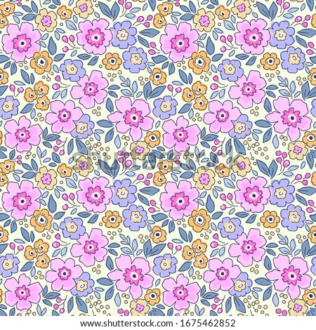 Elegant floral pattern in small pink and lilac flower. Liberty style. Floral seamless background for fashion prints. Ditsy print. Seamless vector texture. Spring bouquet.