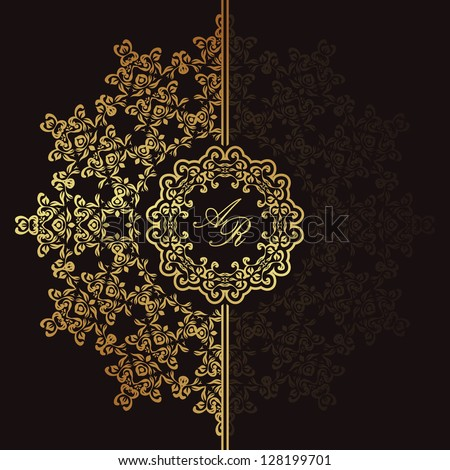 Elegant floral pattern on a dark background. Stylish design. Can be used as a greeting card or wedding invitation