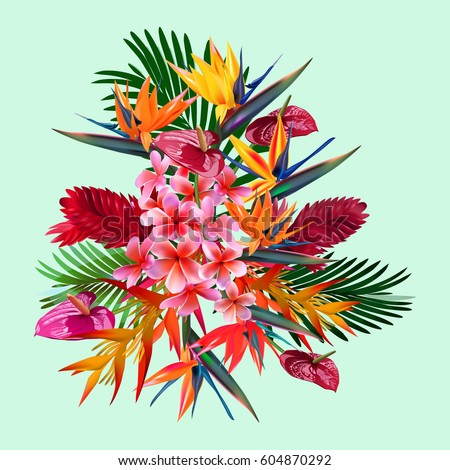 Elegant floral vector composition. A print for a tshirt. Tropical flowers . Vintage style illustration.