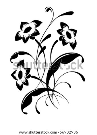 stock vector : Elegant flower pattern, tattoo