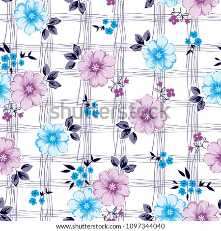 Elegant Flower pattern with hand drawn lines for textile pattern,fashion print