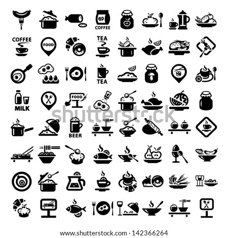 elegant food icons set created
