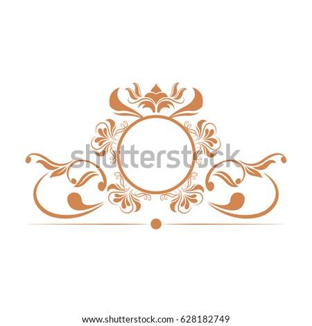elegant frame heraldry ornate decoration element color vintage