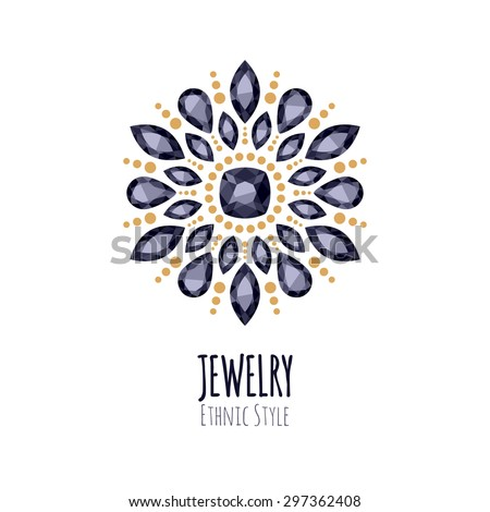 Elegant gemstones vector jewelry decoration ethnic floral for A good jewelry store