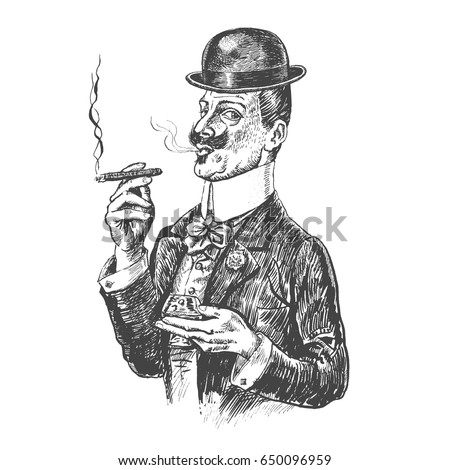 Elegant gentleman in Bowler hat holding glass of beverage and cigar. Retro Vintage vector engraving style. Victorian Era hand drawn lineart illustration