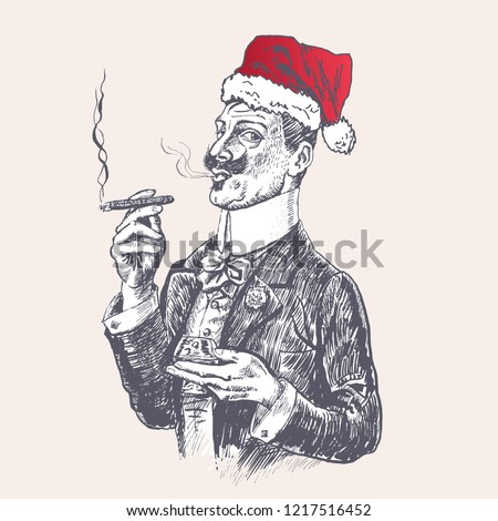 Elegant gentleman in red Santa's hat holding glass of beverage and cigar. For new year's day, Christmas party. Vintage vector engraving style. Victorian Era hand drawn illustration