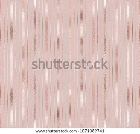 Elegant geometric seamless pattern with rose gold and golden vertical stripes.