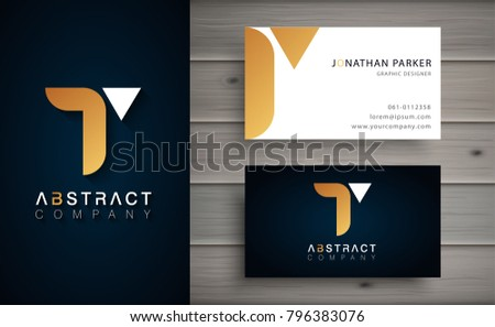 Elegant geometric vector logotype. Golden letter T logo with minimal design. Premium brand identity with business card template.