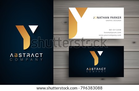 Elegant geometric vector logotype. Golden letter Y logo with minimal design. Premium brand identity with business card template.