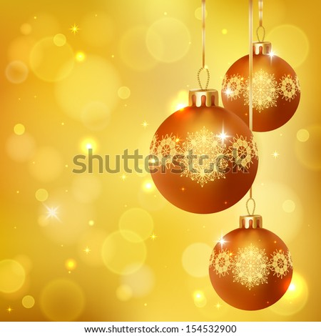 Elegant glimmered Christmas background with photorealistic golden balls. Vector illustration.