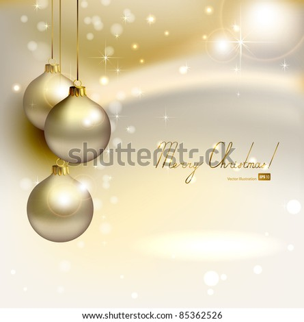 elegant  glimmered Christmas background with three evening balls - stock vector
