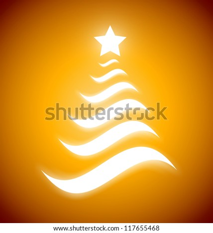 Elegant gold Christmas tree from wavelets