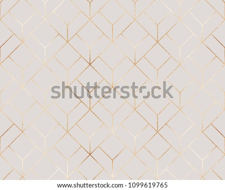 Elegant gold geometric seamless pattern with hexagons tiles.