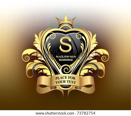 elegant gold heraldry - stock vector