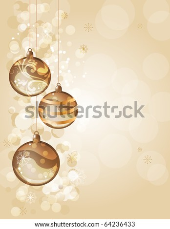 Elegant golden christmas background with balls