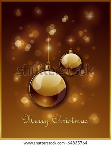 Elegant golden Christmas balls background - stock vector