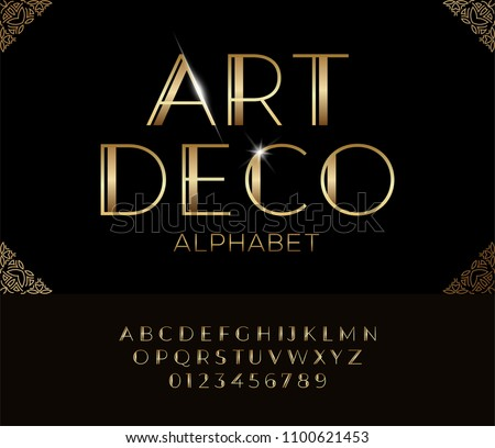 Elegant golden font and alphabet in Art deco style.