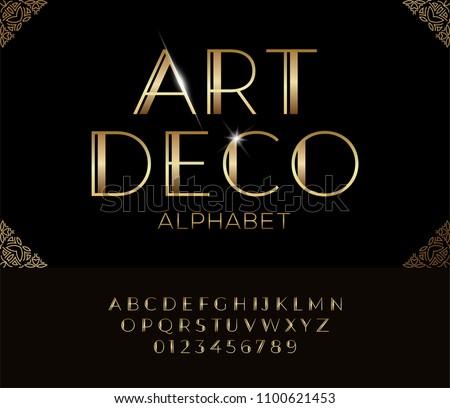 Elegant golden font and alphabet in Art deco style.