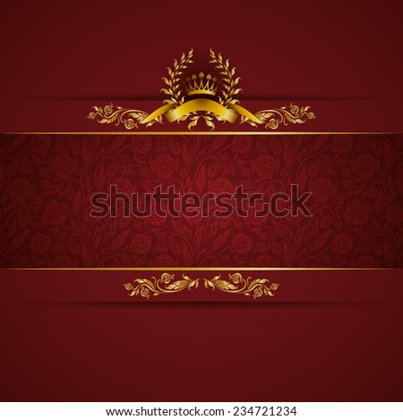 stock-vector-elegant-golden-frame-banner-with-gold-crown-laurel-wreath-on-ornate-red-background-luxury-floral