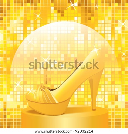 Elegant golden high-heels shoe standing on a pedestal in disco style. Fashion concept.