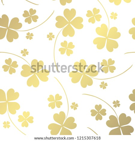 Elegant golden pattern with hand drawn decorative lucky clovers, design elements. Floral pattern for invitations, greeting cards, scrapbooking, print, gift wrap, manufacturing