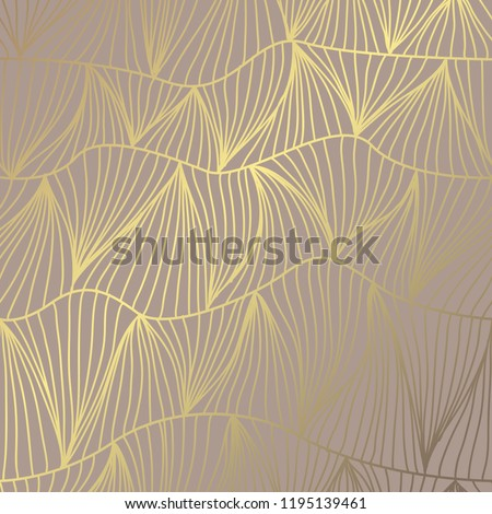 Elegant golden pattern with hand drawn decorative waves, design elements. Floral pattern for invitations, greeting cards, scrapbooking, print, gift wrap, manufacturing