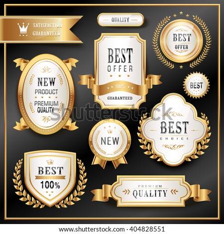 elegant golden premium labels collection set in black background