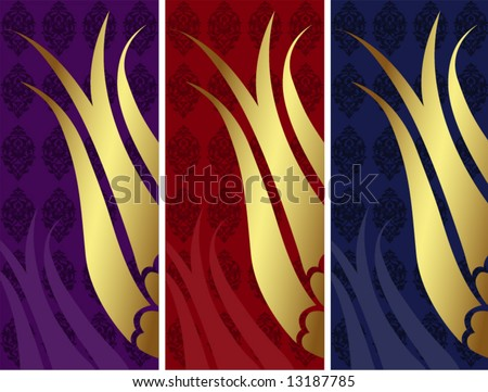 Elegant golden traditional ottoman turkish design set - stock vector
