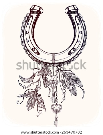 elegant good luck horseshoe amulet charm with feathers and stars elements tattoo design. Black Bedroom Furniture Sets. Home Design Ideas