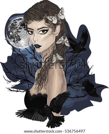 elegant gothic lady with ravens