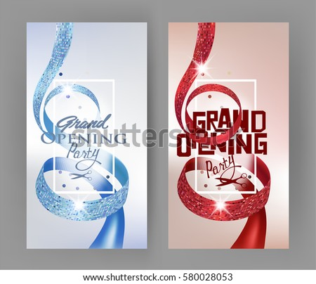 inauguration flat design style elegant grand opening invitation cards with textured curly red and blue ribbons and gold crowns