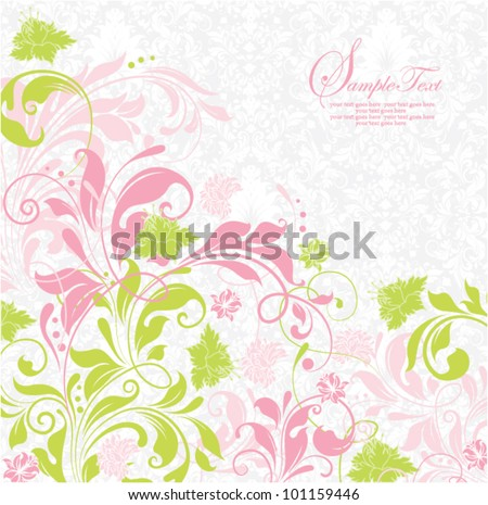 elegant green and pink floral invitation
