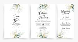 Elegant greenery on wedding invitation card template