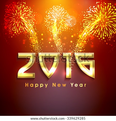 Elegant greeting card design with golden text 2016 on shiny fireworks background for Happy New Year celebration. #339629285