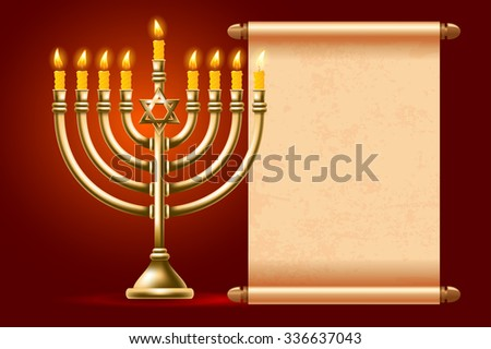 Elegant greeting card for Happy Hanukkah, jewish holiday. Hanukkah golden menorah with burning candles and ancient scroll on red background. Vector illustration.