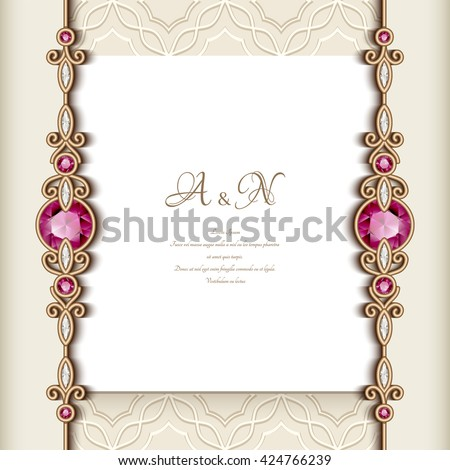 Vector images illustrations and cliparts elegant greeting card elegant greeting card with diamond jewelry border decoration vintage wedding invitation or announcement template m4hsunfo