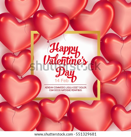Elegant greeting card with frame and glossy red hearts for happy Valentine's Day celebration.