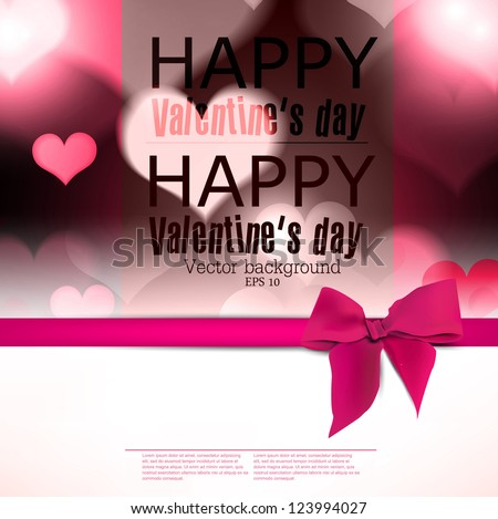 Elegant greeting card with hearts and copy space. Valentine's day background. Vector illustration