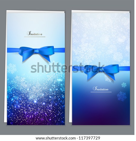 Elegant greeting cards with blue bows and copy space. Vector illustration