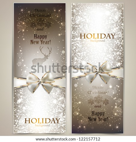 Elegant greeting cards with bows and copy space. Vector illustration