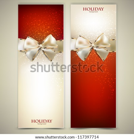 Elegant greeting cards with white bows and copy space. Vector illustration